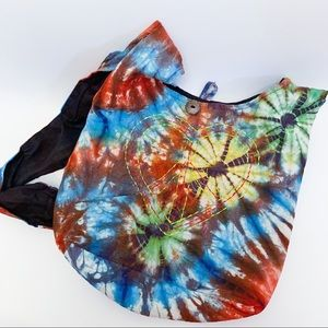 Rising International Boho Tie Dye Embroidered Bag